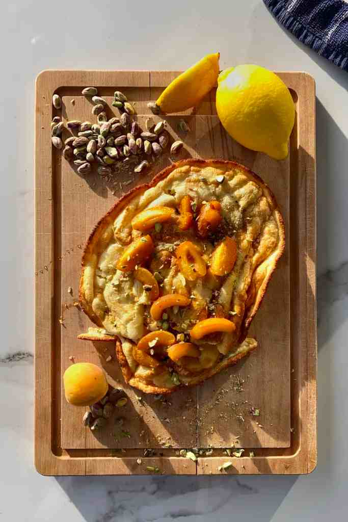 fluffy Pancake with ricotta and apricot