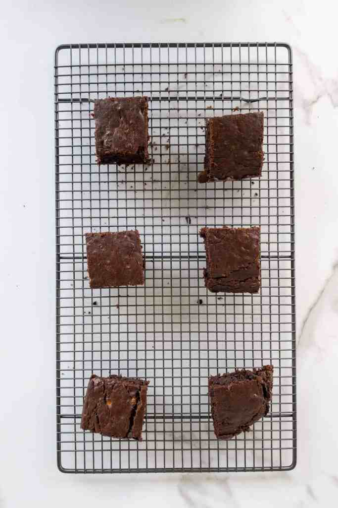 looking down on banana brownies on a cooling rack