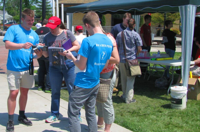 Evaluation team used iPads to survey the SKy Science Festival 2015 Expo Day participants.