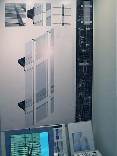 Case view of the facade of Burj Khalifa, showcasing a section diagram of a facade panel.
