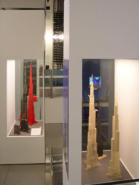 Gallery view showing wind tunnel models of Burj Dubai