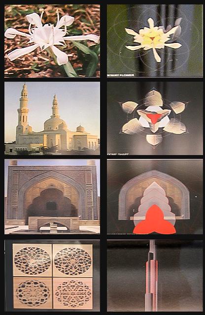 Collage of photographs showing the design inspiration ideas of Burj Dubai.