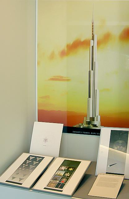 Case view of the competition designs for Burj Dubai