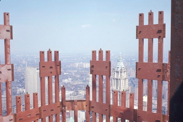Photograph of erection of steel columns of the World Trade Center. Photo by Leslie E. Robertson