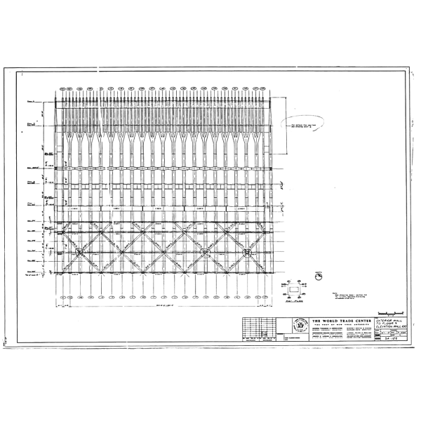 Elevation drawing of the foundation colums and first floors of the Twin Towers.