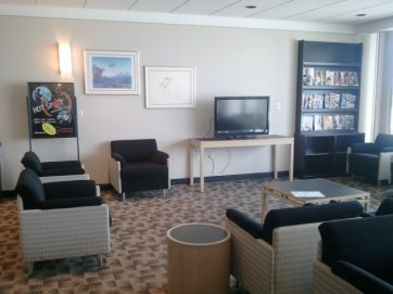 Lounge area with TV, movies, books and magazines.