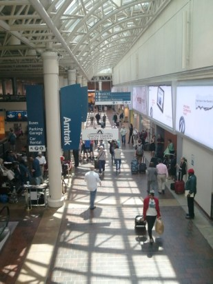 Bustling with travelers, Union Station is clean and friendly
