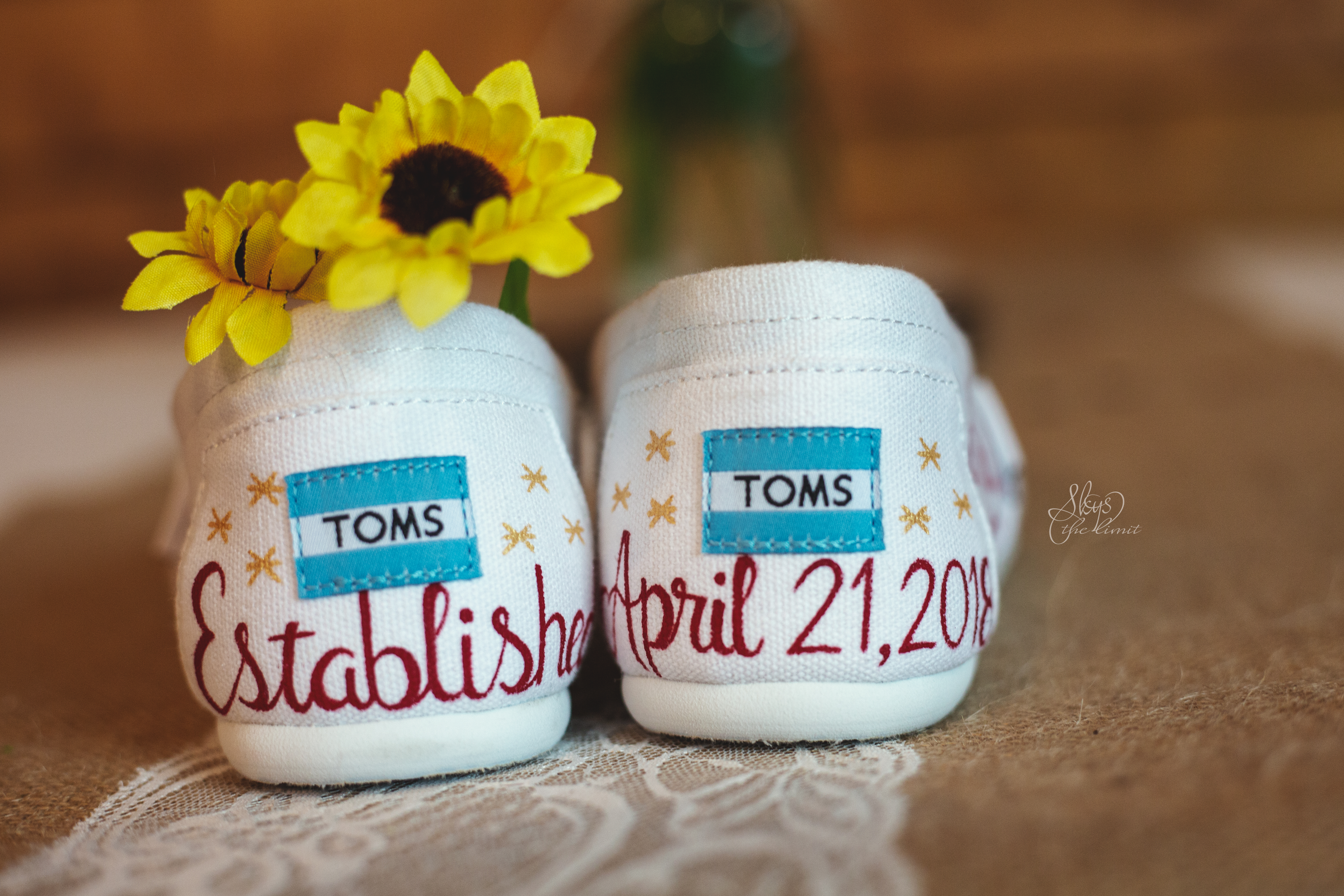 Bride's Toms shoes | Yellow wedding flower | Skys the Limit Production