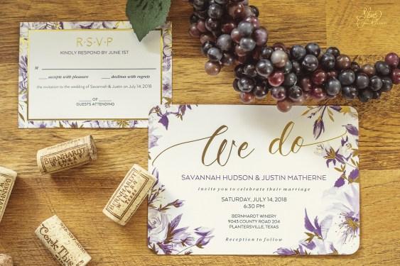 Wedding Invitation at the Bernhardt Winery in Plantersville Texas
