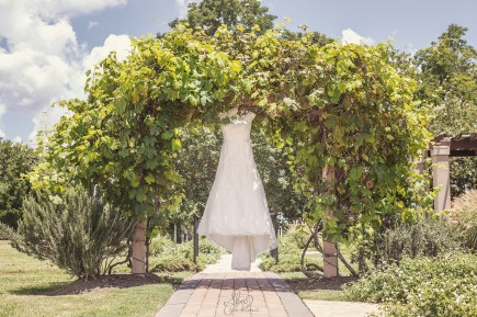 Photo taken by Skys the Limit Production of the Wedding Dress at Bernhardt Winery in Plantersville, Texas.