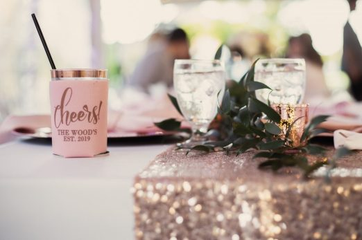 Cheers Koozies at a wedding reception | Skys the Limit Production | Lewisville Photographer