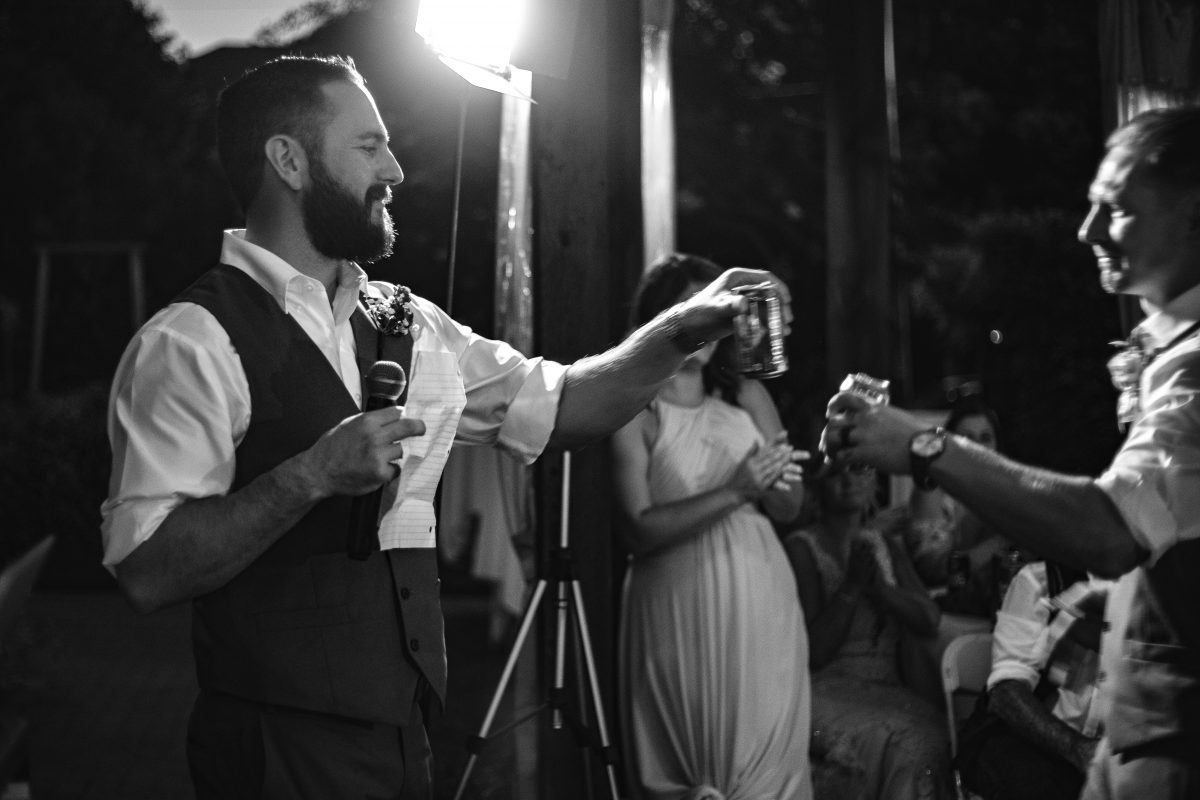 Best Man giving a toast to the groom | Wedding Reception | chapel at chestnut square in McKinney, TX | Skys the Limit Production