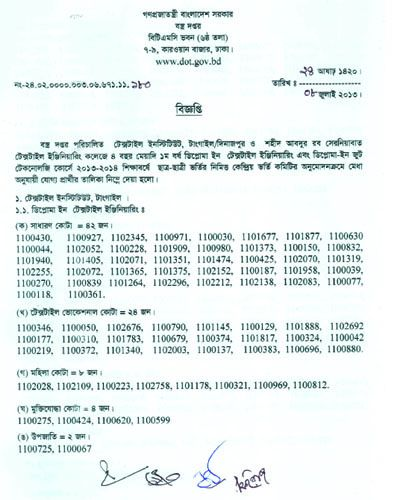 Diploma admission test result 2013-2014