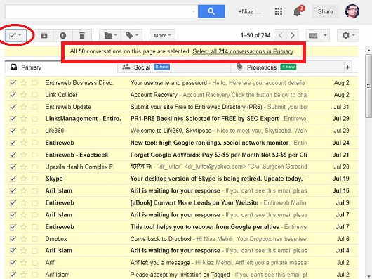 delete all Gmail inbox