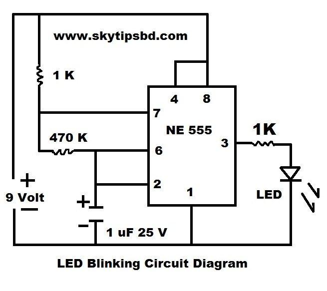 LED Blinking Circuit Diagram by using IC NE 555