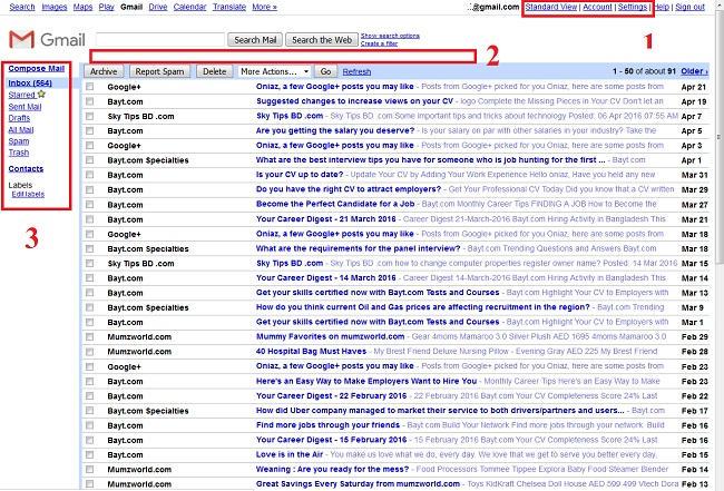 HTML view Gmail inbox
