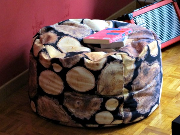 a pouf made of logs