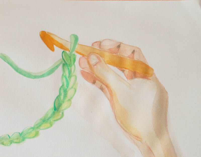 crochet watercolour by sky turtle