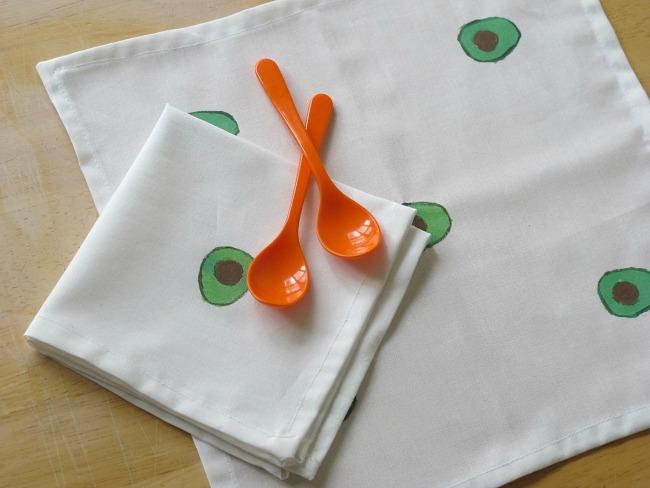 hand painted avocado cotton napkins