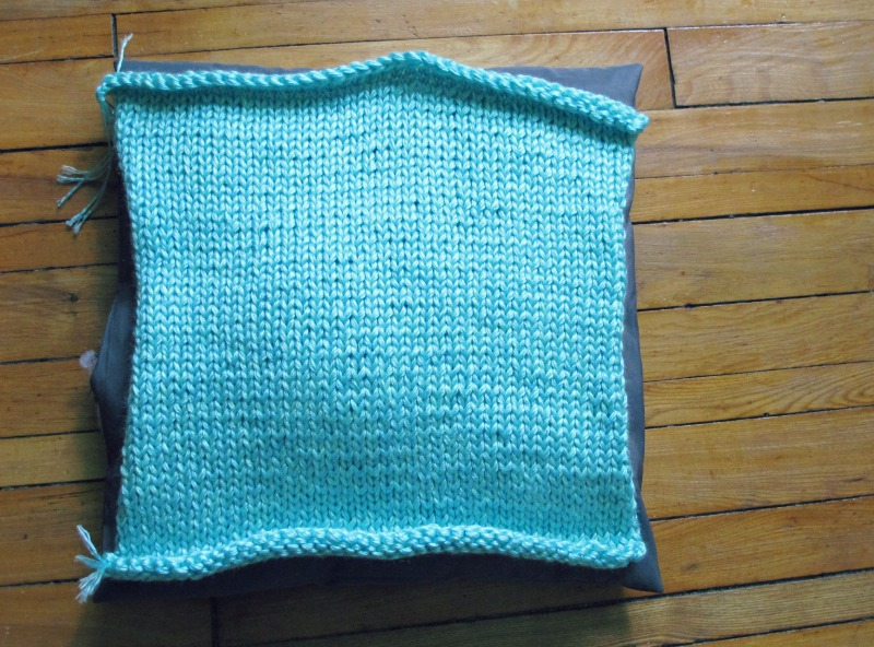 work in progress knitted pillowcases in chunky yarn