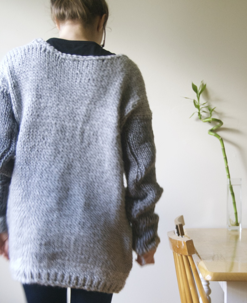 handmade wool bulky sweater back view