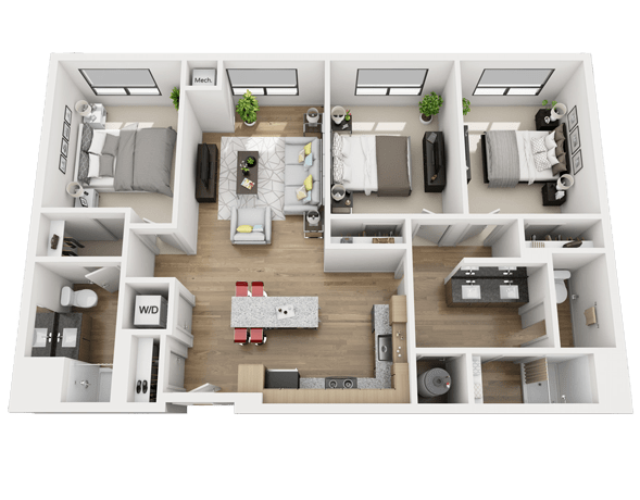 Three Bedroom Apartments | Floor Plans Skyvue Apartments