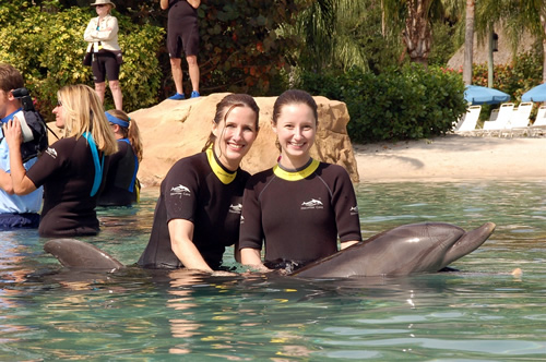Mom and me with dolphins