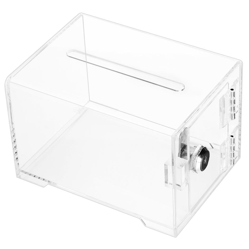 Clear Acrylic Raffle Charity Ballot Donation Box W Lock