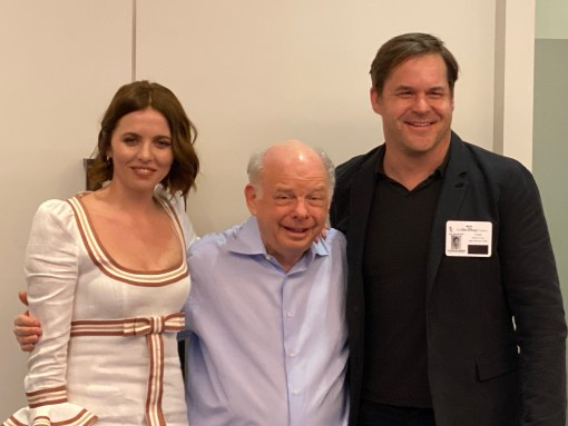 From left to right: Ophelia Lovibond, Wallace Shawn, Kyle Bornheimer