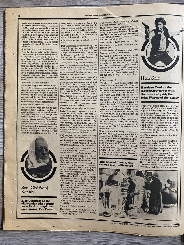 Star Wars Rolling Stone 1977 article