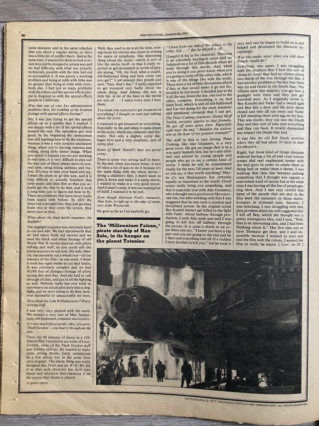 Star Wars Rolling Stone 1977