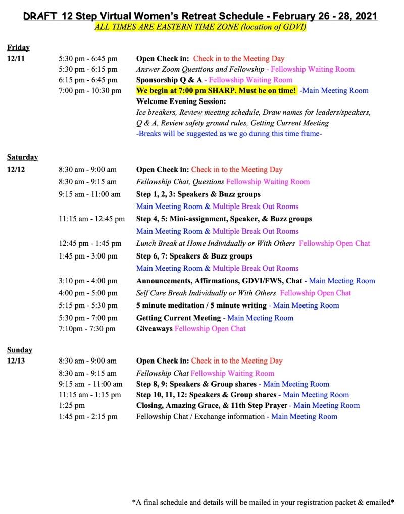 12 Step Virtual Retreat Schedule 2021