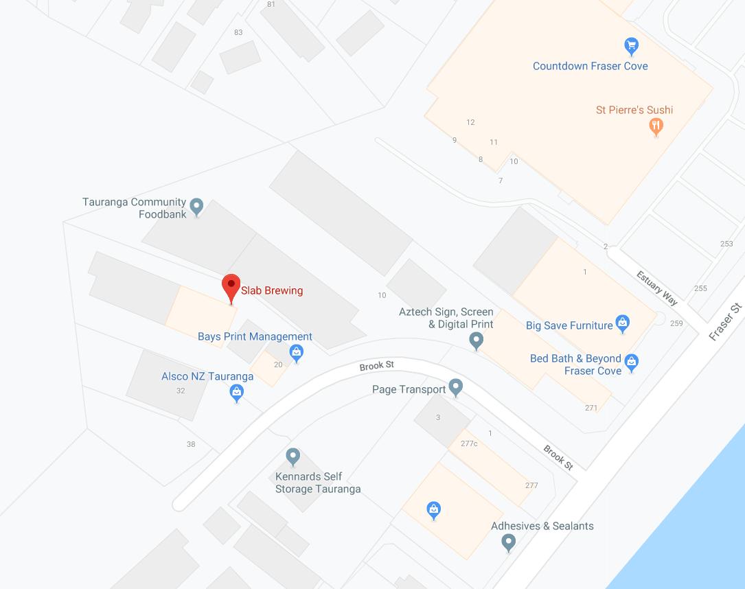 Slab Brewing Tauranga Brewery Location