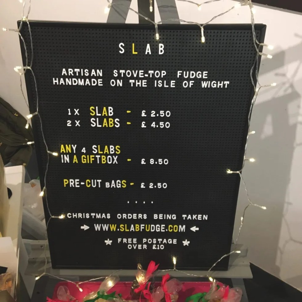 Slab Fudge Christmas Price Board