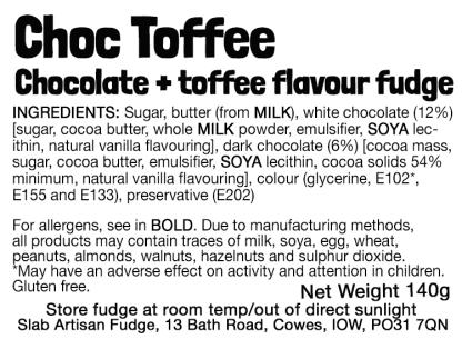 Choc Toffee Slab Flavour Label - Ingredients & Allergens