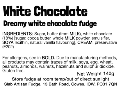 White Chocolate Slab Flavour Label - Ingredients & Allergens