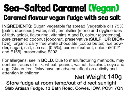 Sea-Salted Caramel Slab (Vegan) Flavour Label - Ingredients & Allergens
