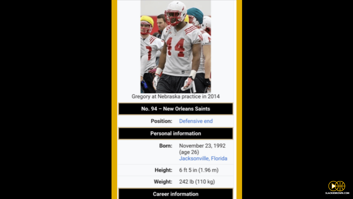 89490417e Someone went to Randy Gregory s Wikipedia page to make him a member of the  New Orleans Saints rather than a Dallas Cowboy.