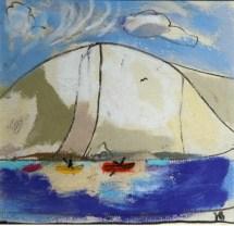 Canoeists off Swyre Head pastel £550