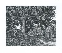 The Old Rectory Garden, Puncknowle Howard Phipps wood engraving 4 x 5inches £215 framed