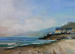 Blue Sea at Charmouth David Atkins 16 x18in 41 x 46 cm oil on board £1,950