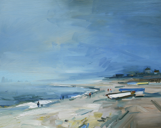Sea Mist. Chesil Beach David Atkins 24 x 30 in 61 x 76m SOLD