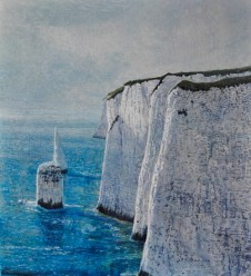 Andrew George The Needles, Ballard Down (study) egg tempera on gesso board 11.5 x 10.5 inches