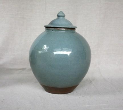 Svend Bayer 18. Lidded Jar, celadon glaze, 34 x 23cm SOLD