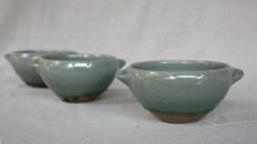 Svend Bayer 63, 62. and 59. Bowls with handles, wood ash glaze outside, celadon inside, 8 x 15cm £80 each