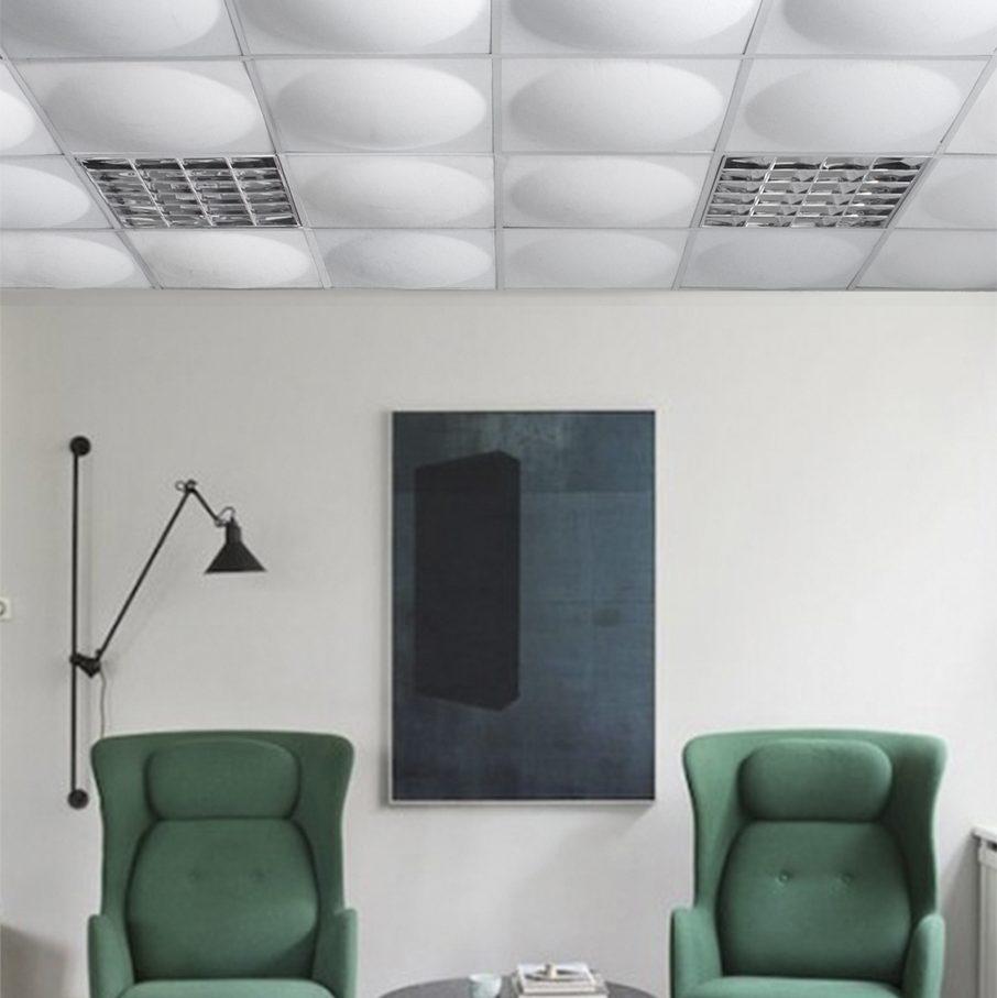 akoestische panelen ECOround bevestigd aan het plafond
