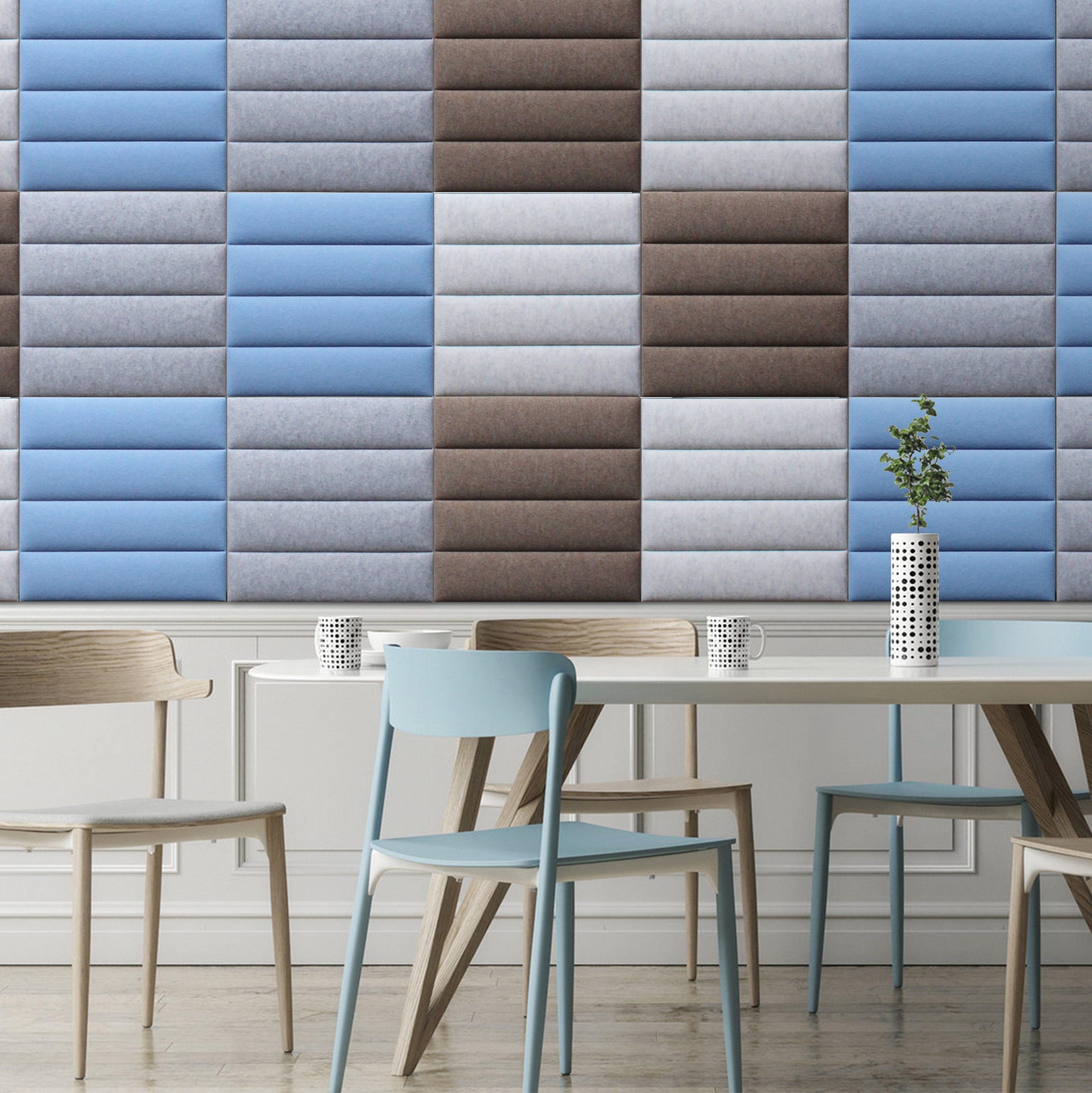 ecowall aan de muur in blauw grijs en witte vlakken
