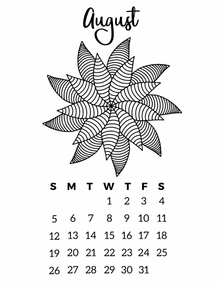 Free Printable 2018 Calendar Mandala Coloring Pages