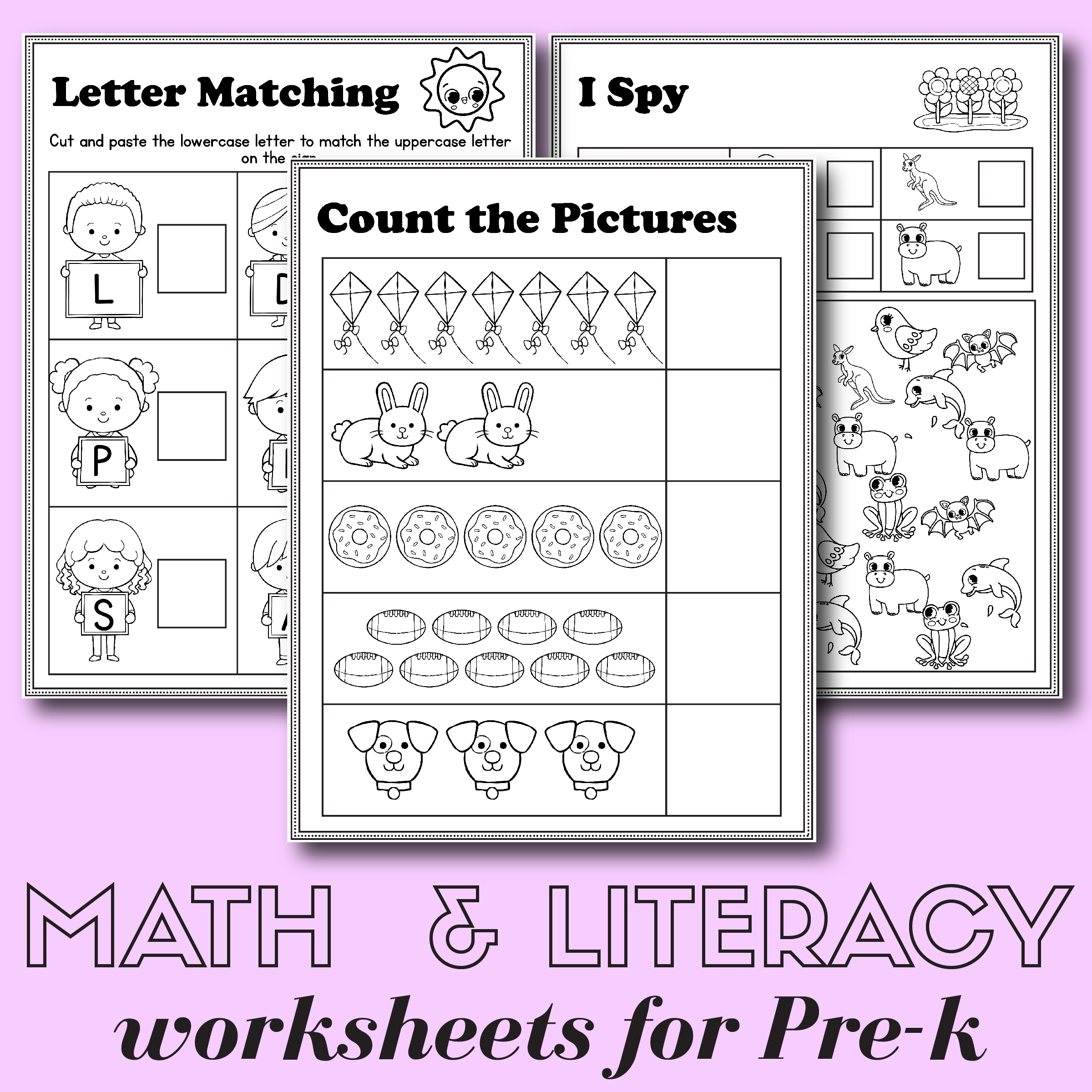 Preschool Math And Literacy Worksheets