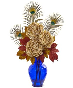 Nearly Natural 1565-CR Peony in Blue Vase Artificial Arrangement